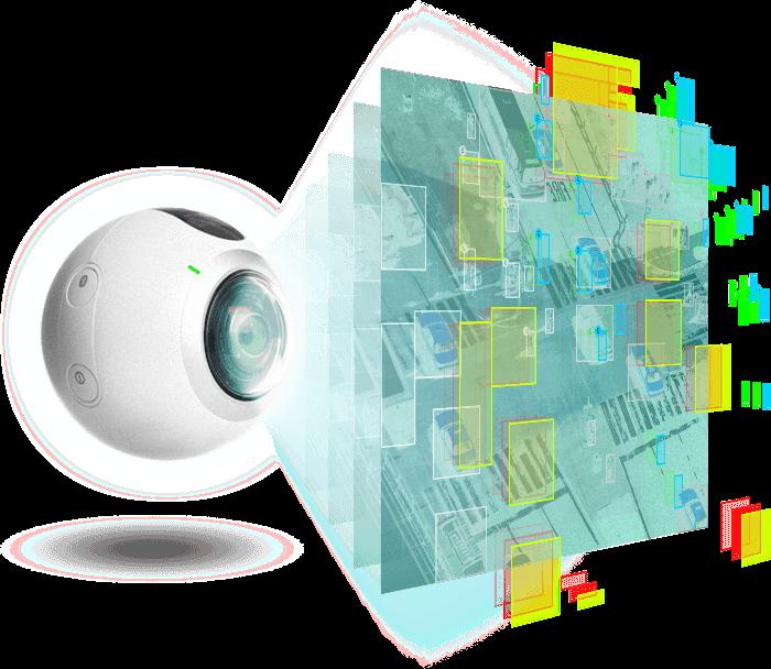 Image of futuristic camera identifying objects
